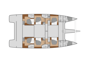 Diagram of Fountaine Pajot Power 67 Charter version