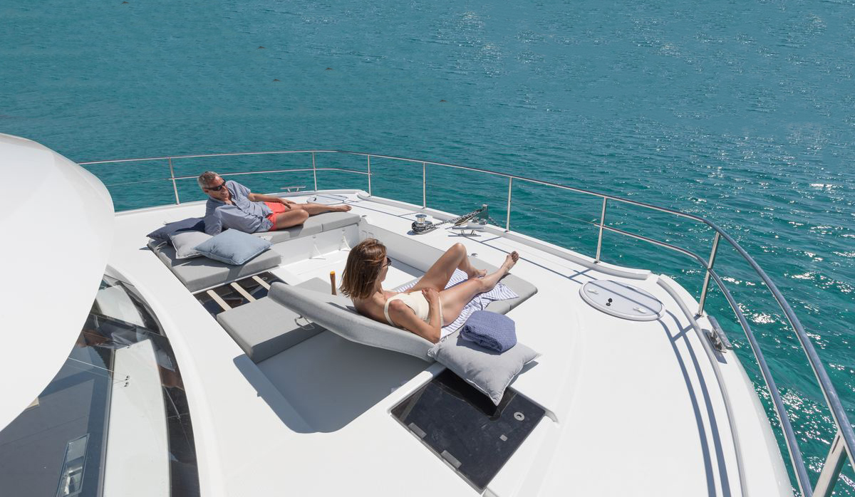 people lounging atop a Fountaine Pajot MY 44