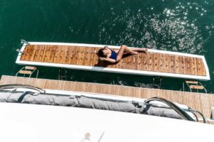 woman lounging on Fountaine Pajot MY 40