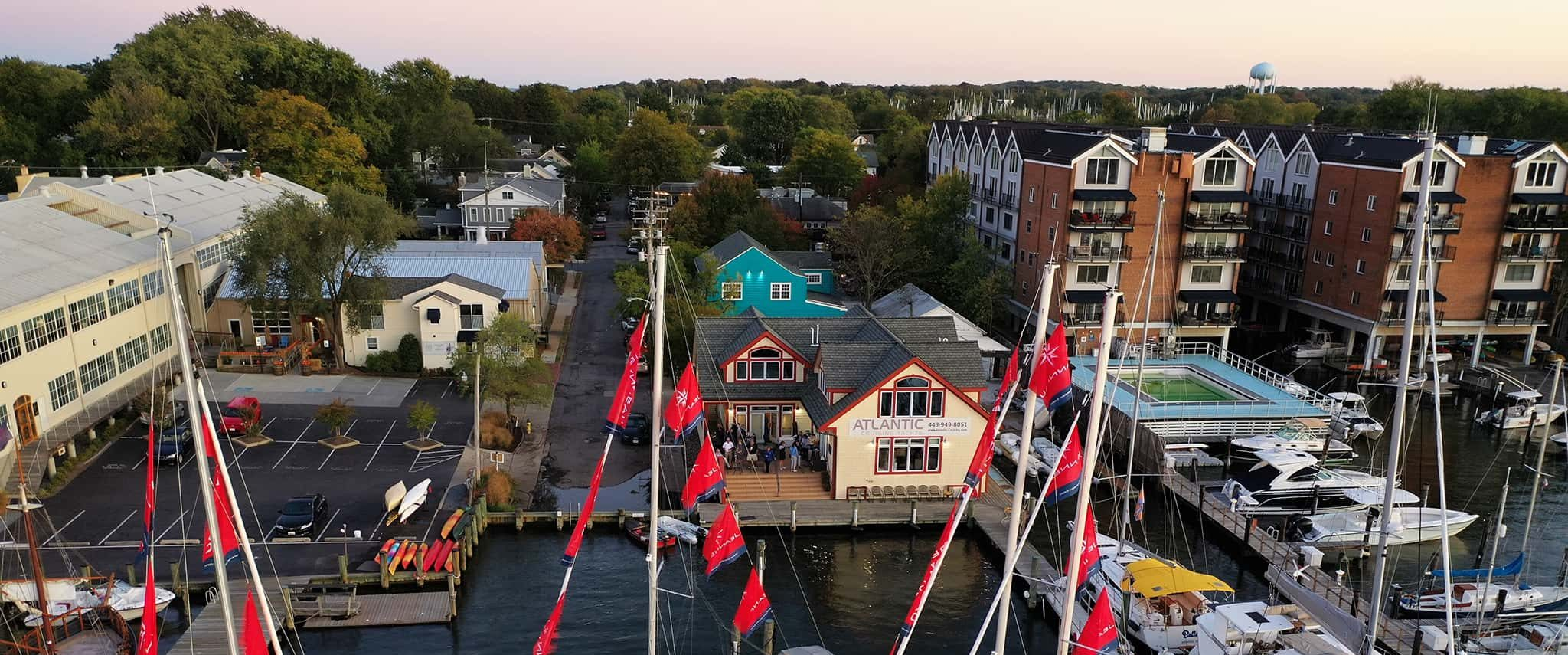 Aerial view of the Atlantic Cruising Yachts Annapolis, MD location