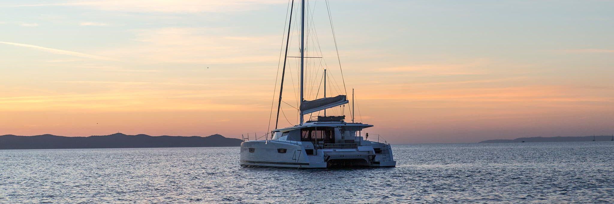 A catamaran sailing on an open body of water