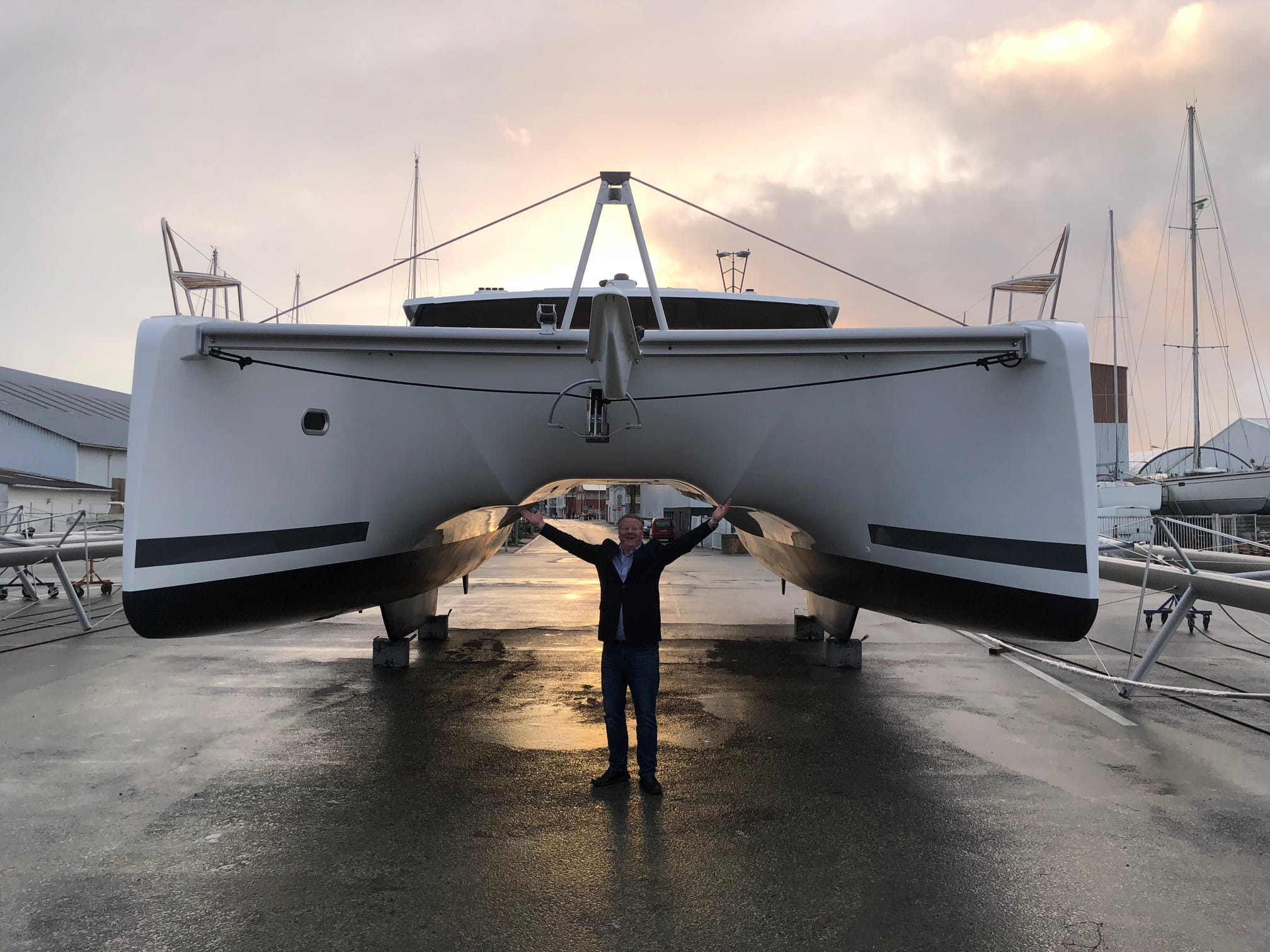 A satisfied Atlantic Cruising Yachts customer receiving their catamaran at the commissioning yard